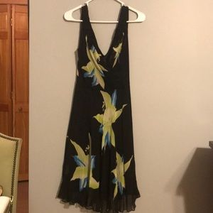 Sue Wong 100% silk summer vneck dress